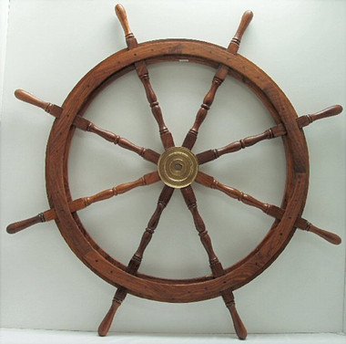"48"" Nautical Wood Pirate Ships Wheel"