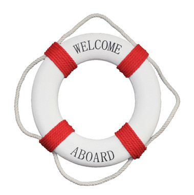 """20"""" Welcome Aboard Life Preserver Ring Buoy Red"""