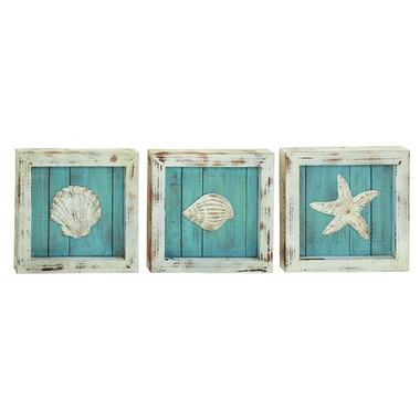 Set of 3 Shell Plaques 14 x 14