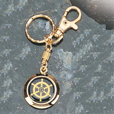 Framed Brass Nautical Wheel Key Chain