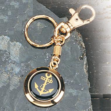 Framed Brass Nautical Anchor Key Chain