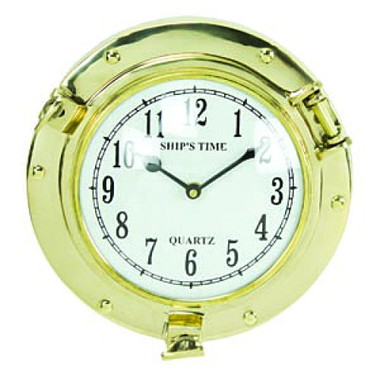 9 Inch Brass Ships Porthole Clock