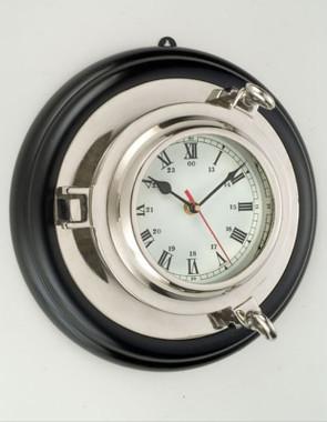 Nickel Finish Porthole Clock Wood Frame
