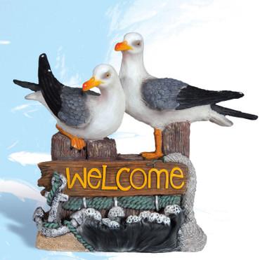 Twin Seagulls Piling Coastal Welcome