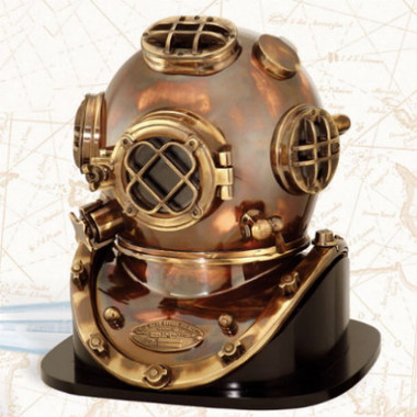 "Antiqued 18"" Mark V Deluxe NAVY Diving Helmet"