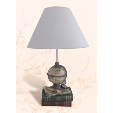 Nautical Side table lamp with books, charts, globe and timepiece for sale