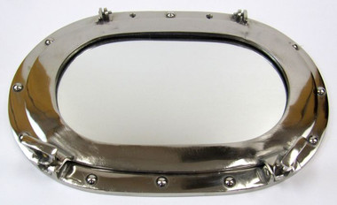 Oval Aluminum Chrome Nickel Finish Porthole Mirror