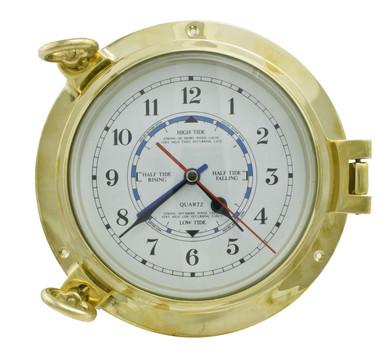 9 Inch Brass Porthole Tide Clock