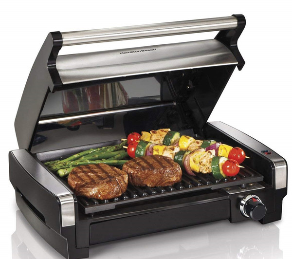Hamilton Beach Electric Smokeless Indoor Searing Grill with Removable Plates, One Size, Brushed Metal