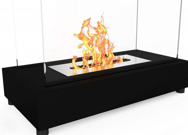 DESIGNED FOR: This vent free portable tabletop fire pit bio ethanol fireplace can be used indoor or outdoor. It can also be used instead of Gas Logs, Wood Log, Electric Log, Electric Fireplace Insert or Wood Burning Fireplace. The flame is 360 degree viewable and acts as a double-sided fireplace.