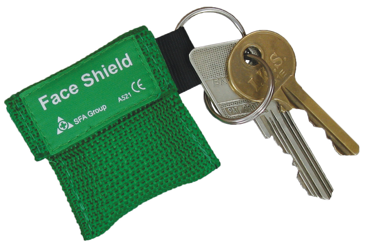 CPR Face Shield in Tiny Key Fob Pouch Green 5cmx5cm