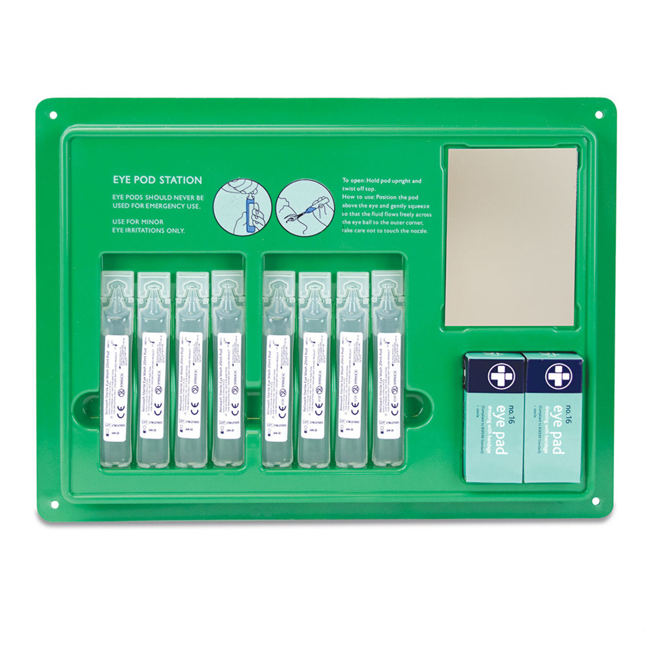 FEY2111 Eye Wash Pod 20ml Station   Complete with 8 pods and 2 eye pads