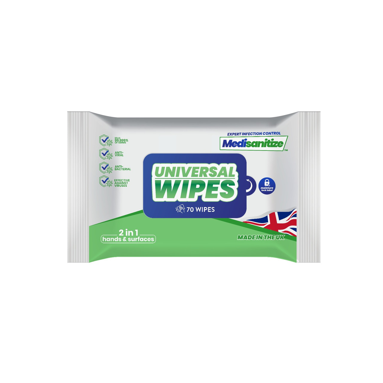 CHW98001 Antibacterial Sanitising Wipes Pack of 70 for Hand and Surfaces | Medisanitize