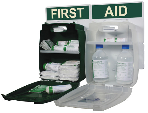 First Aid and Eyewash Station for 1 to 10 People HSE Compliant