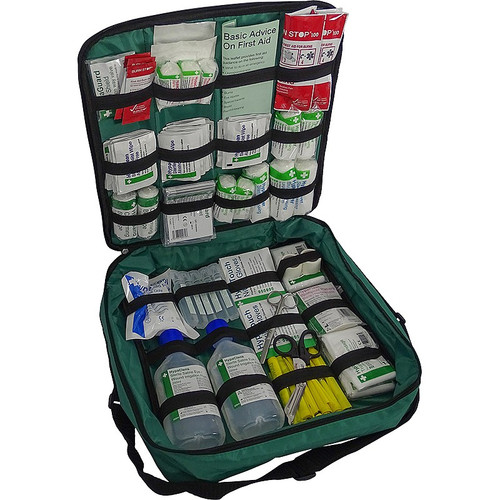 FAK2030 First Aid Kit for First Aiders in Responder Shoulder Bag with Comprehensive Content - Open Shot