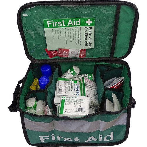 FAK2032 First Aid Kit for First Aiders in Haversack with Comprehensive Content Overhead Open Shot With Content