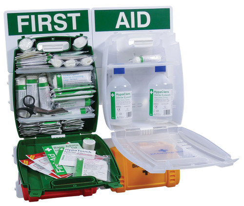 First Aid Station Complete with First Aid Eyewash Burns and Body Fluid Kit Small open