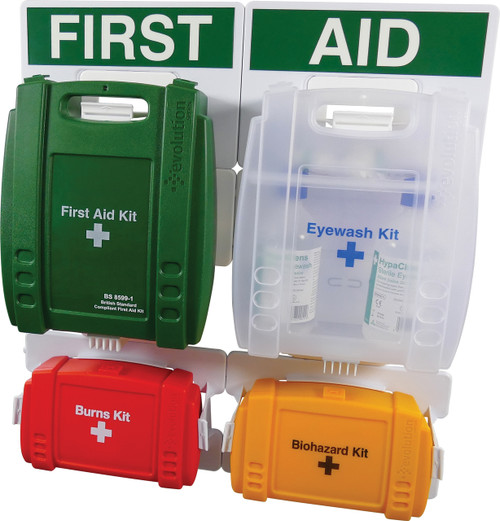 First Aid Station Complete with First Aid Eyewash Burns and Body Fluid Kit Medium closed