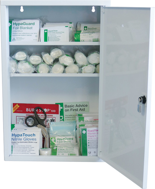 First Aid Lockable Cabinet with Large Content BS 8599 Compliant open