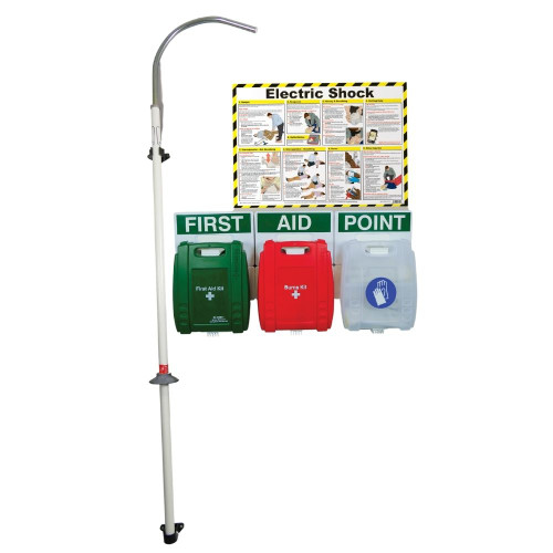 FAK2202 First Aid Station for Electric Shock with Rescue Hook and Glove Dispenser On Wall