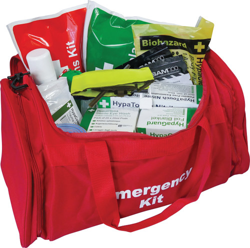 Emergency Trauma Kit in Red Emergency Bag - Professional