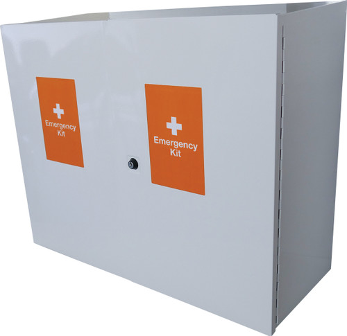 Emergency Trauma Kit in Lockable Wall Cabinet - Professional closed