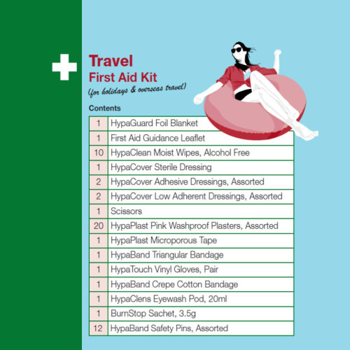 Travel First Aid kit (for holidays and international travel) Contents List