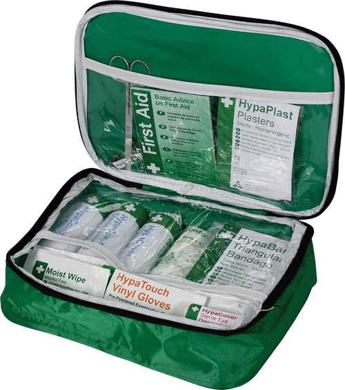 PCV First Aid Kit for Taxis Minibuses and Coaches in Soft Bag open