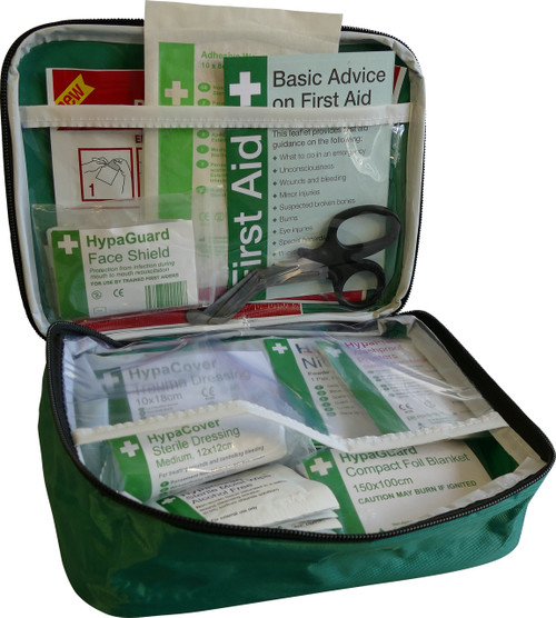 Travel and Motoring First Aid Kit Cars and Vans in Soft Bag BS8599 Compliant open