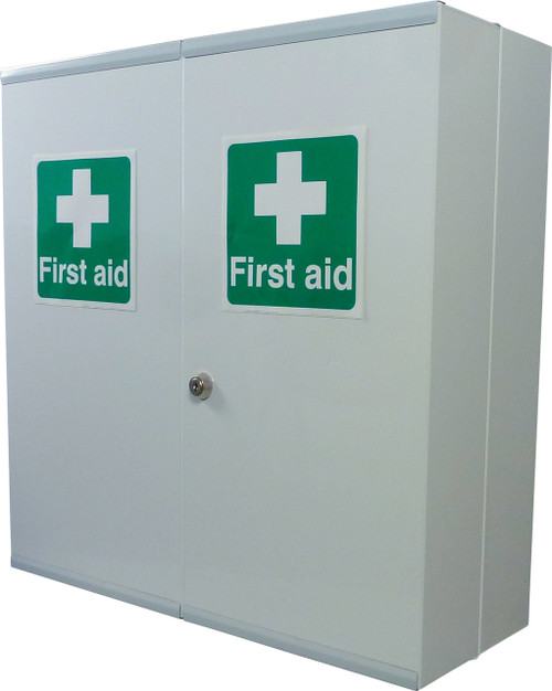 Large First Aid Medical Cabinet Lockable Double Door With Extra Storage
