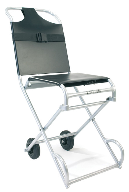 Patient Transit Chair (Wall Mountable) 4 Wheel Black unfolded