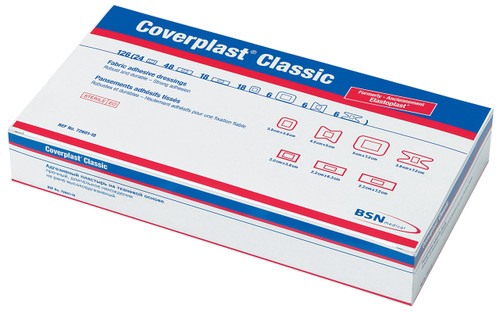 Coverplast Classic Fabric Premium Plasters Assorted Box of 126 box only
