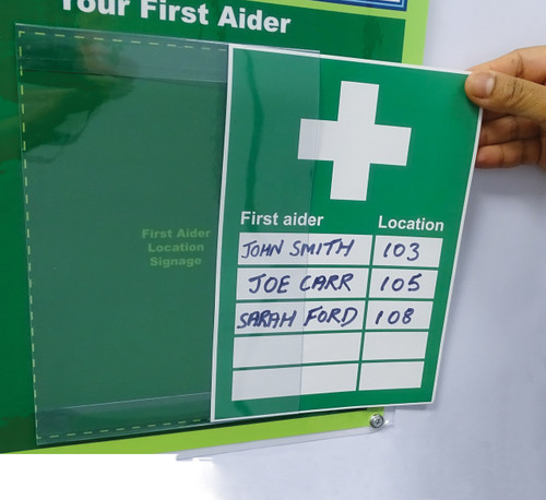 Nearest First Aid Kit and Person in Charge Updateable With 4 Inserts Sign A5 action