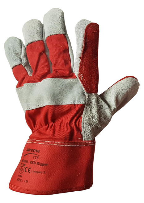Rigger Gloves Double Palm Red One Size X Large 10 Showing The Back Of The Hand