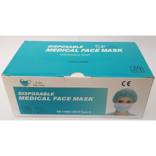 PRP9951 Medical Mask 3 Ply Type II Box of 50 With Ear Loops Box