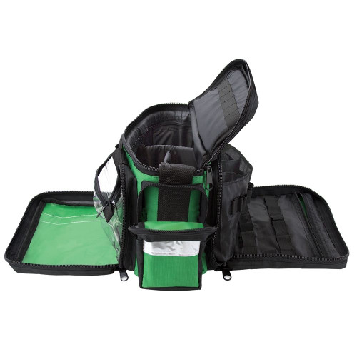 FAK5116GRN Large Pro First Aid Medical Bag with Shoulder Strap Empty Green