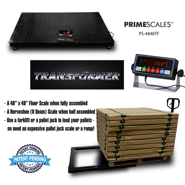 Transformer Pallet Scale 48x48 Size with Readout Indicator Convertible to U Beam/Horseshoe Scale for Pallet Jack Loading / 5000lb Industrial Floor Scale