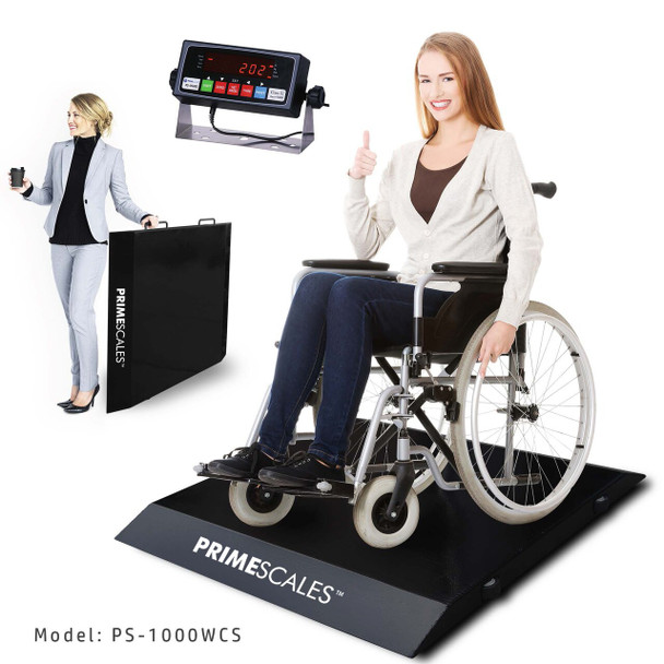"Refurbished PrimeScales  PS-1000WCS Ultra Portable Wheelchair Scale 31""Wx33""Lx2.5""H + FREE SHIPPING"