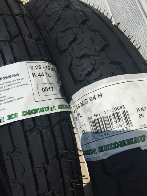 NEW HEIDENAU K44 3.25X19+K36 TIRE/TUBE/RIM STRAP PACKAGE BMW /5, /6, /7 AND MORE - K44 3.25X19 K36 4.00X18