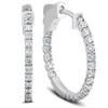 """1/2 Ct Diamond Inside Outside Hoops 14k White Gold Vault Lock 1"""" Tall (G/H, SI)"""