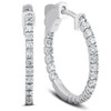 """1/2 Ct Diamond Inside Outside Hoops G/SI 14k White Gold Vault Lock 1"""" Tall (G/H, SI)"""