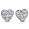 14K White Gold Diamond Pave Small Heart Studs Dainty High Polished 5.7MM (I-J, I2/I3)