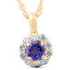 1/2 Ct Diamond & Genuine Amethyst Halo Pendant 14k Yellow Gold Womens Necklace (G, VS)