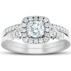 .75 Ct Cushion Halo Diamond Engagement Wedding Ring Set 14k White Gold Lab Grown (G, VS)