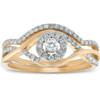 1/2CT Diamond Engagement Wedding Ring Set Halo 10k Yellow Gold Lab Created (H, I1-I2)