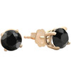 1 1/2 ct 14k Yellow Gold Round Black Diamond Studs Womens Earrings (Black, AAA)