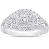 1 Ct Diamond Halo Multi Row Engagement Ring 10k White Gold (I/J, I2-I3)