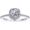 1 Ct Diamond Cushion Halo Engagement Ring Lab Grown 14k White Gold (F, VS/SI)