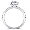 1 Ct Diamond Cushion Halo Engagement Ring Lab Grown 14k White Gold (F, VS/SI)