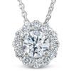 1 1/2 Ct Diamond (1ct center) Halo Pendant 14k White Gold Necklace (G/H, SI)